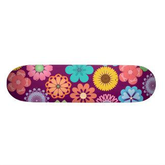 Girly Flower Power Colorful Floral Purple Pattern Skateboard