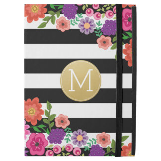 "Girly Flowers, Stripes, Gold Monogram Black White iPad Pro 12.9"" Case"