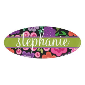 Girly Flowers with Cute Script - colorful Name Tag