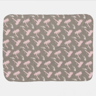 Girly Fly Fishing Lures Pattern Baby Blanket