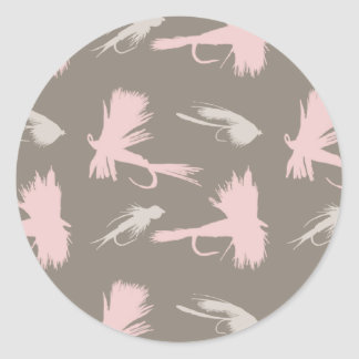 Girly Fly Fishing Lures Pattern Classic Round Sticker