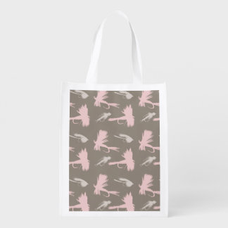 Girly Fly Fishing Lures Pattern Grocery Bag