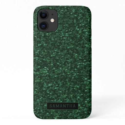 Girly Forest Green Sparkle Sequins Monogram iPhone 11 Case