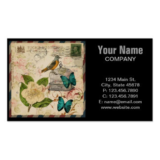 girly french botanical bird floral paris fashion business cards