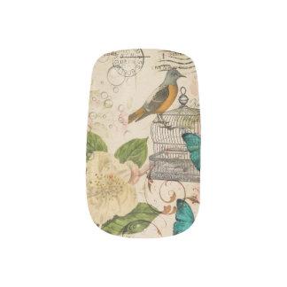 girly french botanical bird floral paris fashion  Minx® nail art
