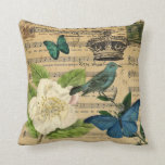 girly french botanical bird floral paris fashion throw pillow