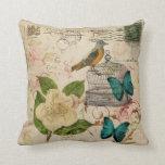 girly french botanical bird rose paris fashion throw pillow