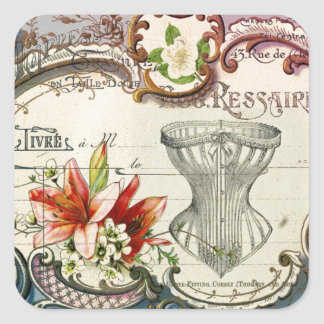 Girly french country lily Parisian vintage corset Square Sticker