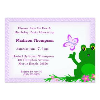 Girly Frog Birthday Party Invitation