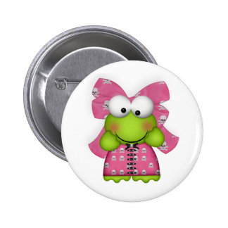 girly froggy in skully dress 2 inch round button