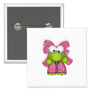 girly froggy in skully dress 2 inch square button