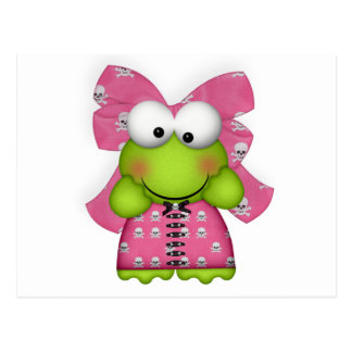 girly froggy in skully dress postcard