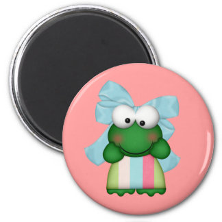girly  froggy in stripe dress with bow 2 inch round magnet