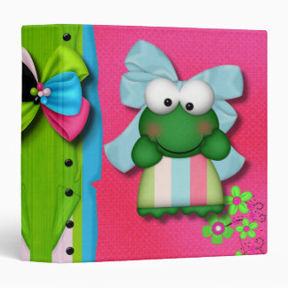 girly  froggy in stripe dress with bow binder
