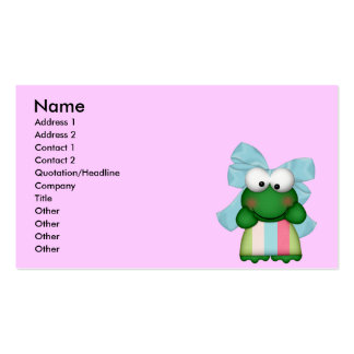 girly  froggy in stripe dress with bow business card