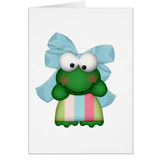 girly  froggy in stripe dress with bow card