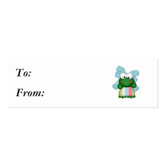 girly  froggy in stripe dress with bow mini business card