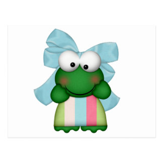 girly  froggy in stripe dress with bow postcard