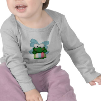 girly  froggy in stripe dress with bow t shirt