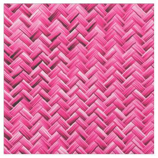 Girly Fuchsia Basket Weave Geometric Pattern Fabric