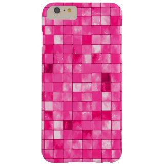 Girly Fuchsia Geometric Decorative Tile Pattern Barely There iPhone 6 Plus Case