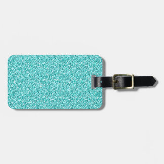 Girly, Fun Aqua Blue Glitter Printed Bag Tag
