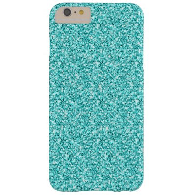 Girly, Fun Aqua Blue Glitter Printed Barely There iPhone 6 Plus Case