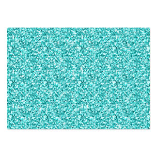 Girly, Fun Aqua Blue Glitter Printed Large Business Cards (Pack Of 100)