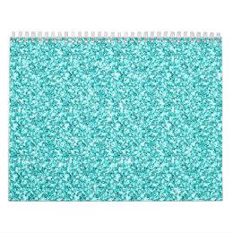 Girly, Fun Aqua Blue Glitter Printed Calendar