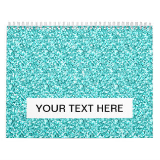 Girly, Fun Aqua Blue Glitter Printed Calendar