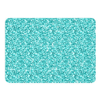 Girly, Fun Aqua Blue Glitter Printed Card