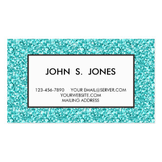 Girly, Fun Aqua Blue Glitter Printed Double-Sided Standard Business Cards (Pack Of 100)