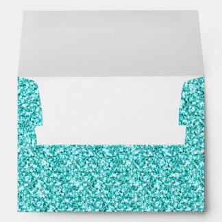 Girly, Fun Aqua Blue Glitter Printed Envelope