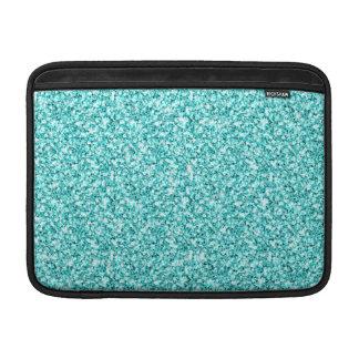 Girly, Fun Aqua Blue Glitter Printed MacBook Sleeves