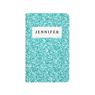 Girly, Fun Aqua Blue Glitter Printed Journal