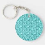 Girly, Fun Aqua Blue Glitter Printed Double-Sided Round Acrylic Keychain