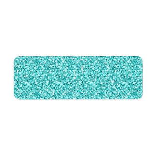 Girly, Fun Aqua Blue Glitter Printed Label