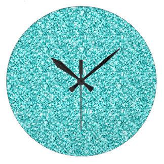 Girly, Fun Aqua Blue Glitter Printed Large Clock