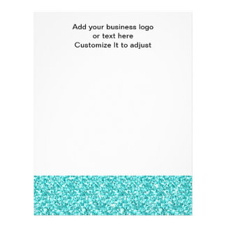 Girly, Fun Aqua Blue Glitter Printed Letterhead