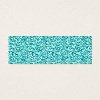 Girly, Fun Aqua Blue Glitter Printed Mini Business Card