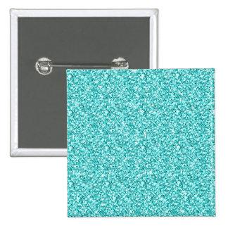 Girly, Fun Aqua Blue Glitter Printed Pinback Button