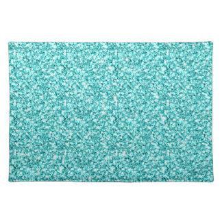 Girly, Fun Aqua Blue Glitter Printed Placemats