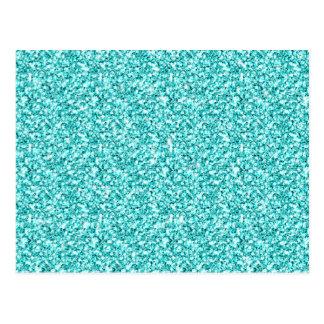 Girly, Fun Aqua Blue Glitter Printed Postcard