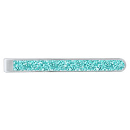 Girly, Fun Aqua Blue Glitter Printed Silver Finish Tie Clip