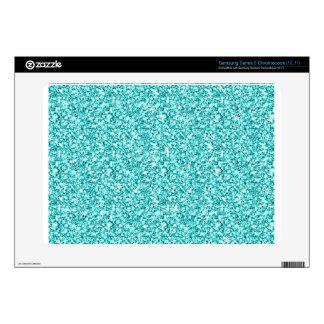Girly, Fun Aqua Blue Glitter Printed Samsung Chromebook Skin