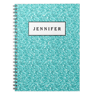 Girly, Fun Aqua Blue Glitter Printed Spiral Notebook