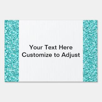 Girly Fun Aqua Blue Glitter Printed Signs