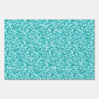 Girly Fun Aqua Blue Glitter Printed Yard Sign