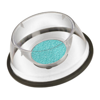 Girly, Fun Aqua Blue Glitter Printed Pet Bowl
