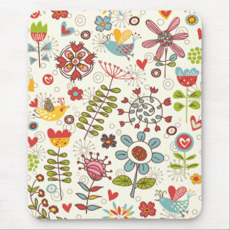 Girly Fun Birds and Flowers Mousepad
